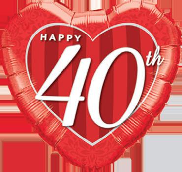 Happy 40th Damask Heart Foil Heart 18in/45cm