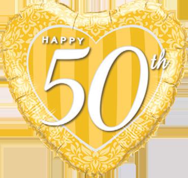 Happy 50th Damask Heart Foil Heart 18in/45cm