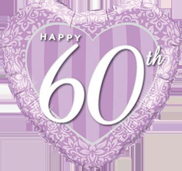 Happy 60th Damask Heart Foil Heart 18in/45cm