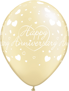 Happy Anniversary Hearts Pearl Ivory Latex Round 11in/27.5cm