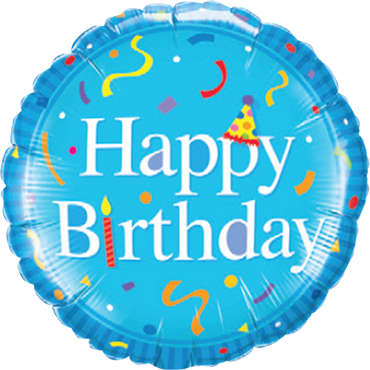 Happy Birthday Blue Foil Round 18in/45cm