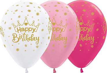 Happy Birthday Crown Metallic Fuchsia, Pearl White, Pearl Pink Latex Round 11in/27.5cm