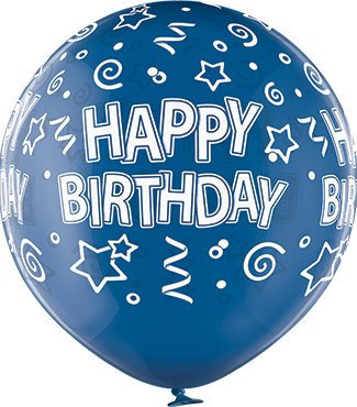 Happy Birthday Crystal Blue (Transparent) Latex Round 24in/60cm