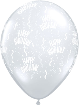 Happy Birthday Crystal Diamond Clear (Transparent) Latex Round 5in/12.5cm