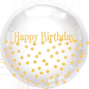 Happy Birthday Dots Foil Round 18in/45cm