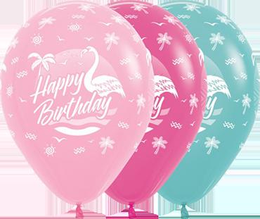 Happy Birthday Flamingo Bubblegum Pink, Fuchsia, Aquamarine Latex Round 11in/27.5cm