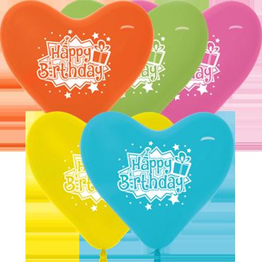 Happy Birthday Gift Fashion Fuchsia, Fashion Yellow, Fashion Lime Green, Fashion Blue and Fashion Orange Assortment Latex Heart 11in/27.5cm