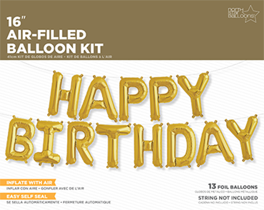 Happy Birthday Kit Gold Foil Letters 16in/40cm