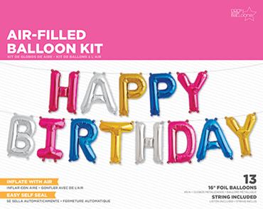 Happy Birthday Kit Multi-Colour Foil Letters 16in/40cm