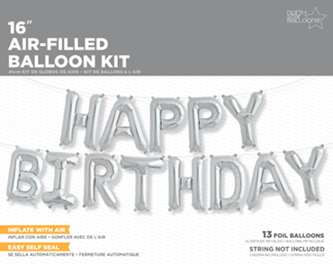 Happy Birthday Kit Silver Foil Letters 16in/40cm