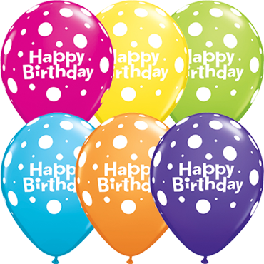 Happy Birthday Polka Dot Retail Assortment Latex Round 11in/27.5cm