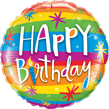 Happy Birthday Rainbow Foil Round 9in/22.5cm