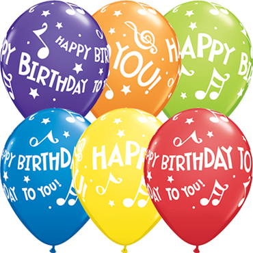 Happy Birthday to You Music Notes Carnival Assortment Latex Round 11in/27.5cm