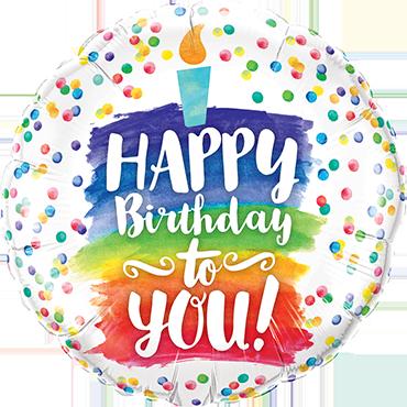Happy Birthday To You Rainbow Cake Foil Round 18in/45cm