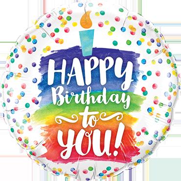 Happy Birthday To You Rainbow Cake Foil Round 9in/22.5cm