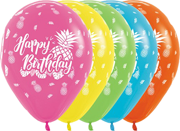 Happy Birthday Tropical Assortment with Metallic Ink Latex Round 11in/27.5cm
