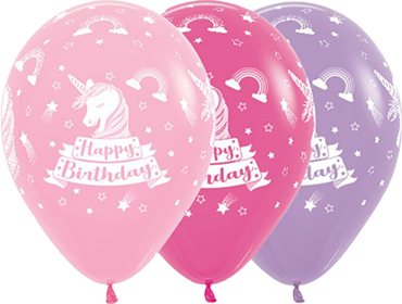 Happy Birthday Unicorn Bubblegum Pink, Fuchsia, Lilac Latex Round 11in/27.5cm