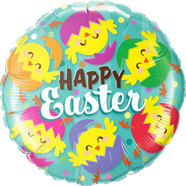 Happy Easter Hatched Chicks Foil Round 18in/45cm