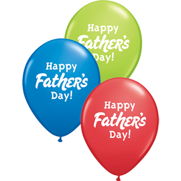 Happy Father's Day Standard Dark Blue, Standard Red and Fashion Lime Green Assortment Latex Round 11in/27.5cm