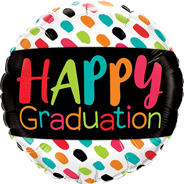 Happy Graduation Colour Dabs Foil Round 18in/45cm