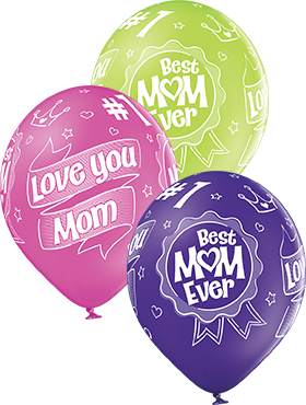Happy Mother's Day Pastel Apple Green, Pastel Rose and Pastel Royal Lilac Assortment Latex Round 12in/30cm