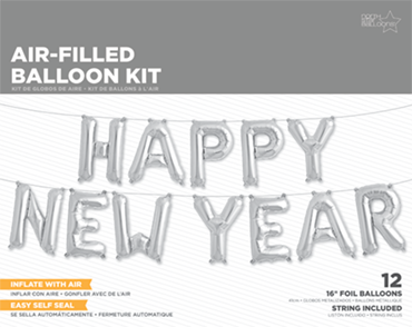 Happy New Year Kit Silver Foil Letters 16in/40cm