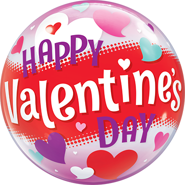 Happy Valentines Day Hearts Single Bubble 22in/50cm