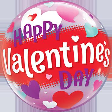 Happy Valentines Day Hearts Single Bubble 22in/50cm