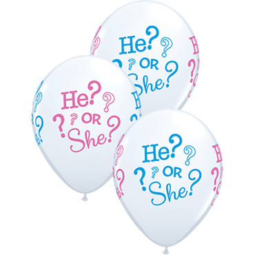 He? Or She? Standard White Latex Round 11in/27.5cm