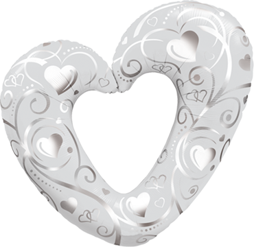 Hearts and Filigree Pearl White Foil Shape 14in/36cm