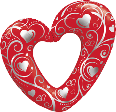 Hearts and Filigree Red Foil Shape 14in/36cm