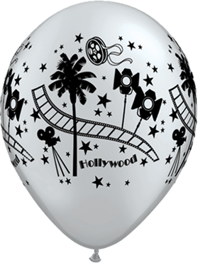 Hollywood Stars Metallic Silver Latex Round 11in/27.5cm