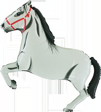 Horse White Foil Shape 36in/90cm