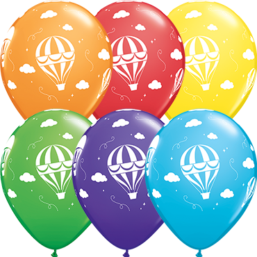 Hot Air Balloons Standard Orange, Fashion Purple Violet, Standard Red, Fashion Robins Egg Blue, Fashion Spring Green and Standard Yellow Assortment Latex Round 11in/27.5cm
