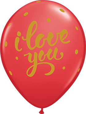 I Love You Bold Script Standard Red Latex Round 11in/27.5cm