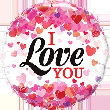 I Love You Confetti Hearts Foil Round 9in/22.5cm