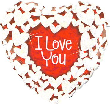 I Love You Glitter Hearts Holographic Foil Heart 18in/45cm