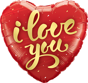 I Love You Gold Script Foil Heart 18in/45cm