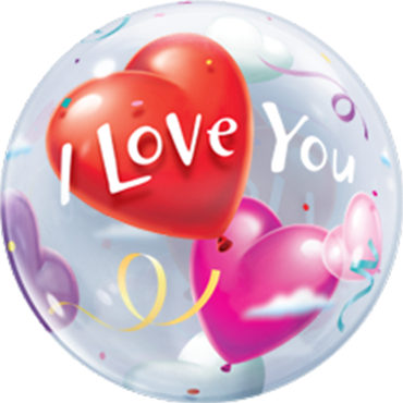 I Love You Heart Balloons Single Bubble 22in/55cm