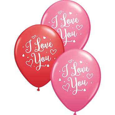 I Love You Hearts Script Standard Red and Fashion Rose Assortment Latex Round 11in/27.5cm