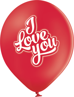 I Love You Pastel Red Latex Round 12in/30cm