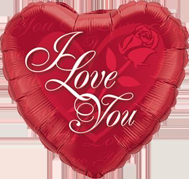 I Love You Red Rose Foil Heart 18in/45cm