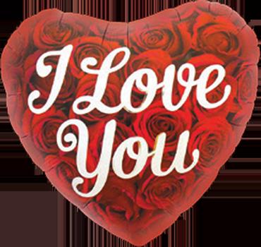 I Love You Roses Foil Heart 18in/45cm