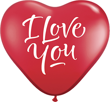 I Love You Script Modern Crystal Ruby Red (Transparent) Latex Heart 36in/90cm