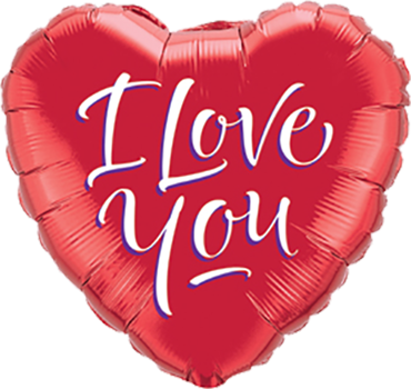 I Love You Script Modern Foil Heart 18in/45cm