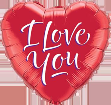I Love You Script Modern Foil Heart 9in/22.5cm