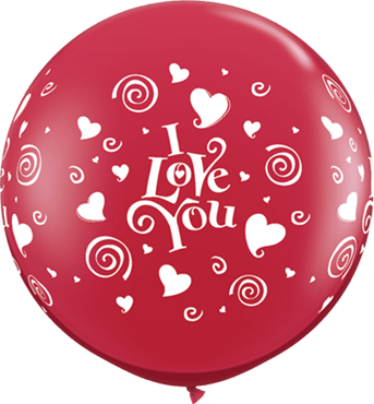 I Love You Swirling Hearts Crystal Ruby Red (Transparent) Latex Round 36in/90cm