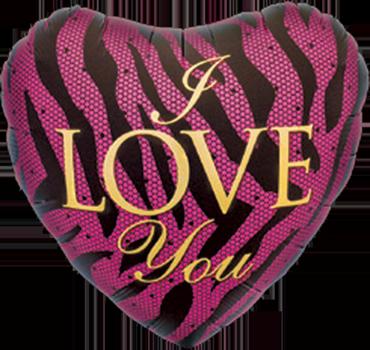 I Love You Zebra Foil Heart 18in/45cm