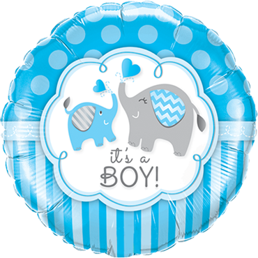 Its A Boy Elephants Foil Round 18in/45cm