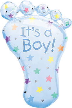 Its a Boy Foot Foil Shape 23in/58cm x 32in/82cm